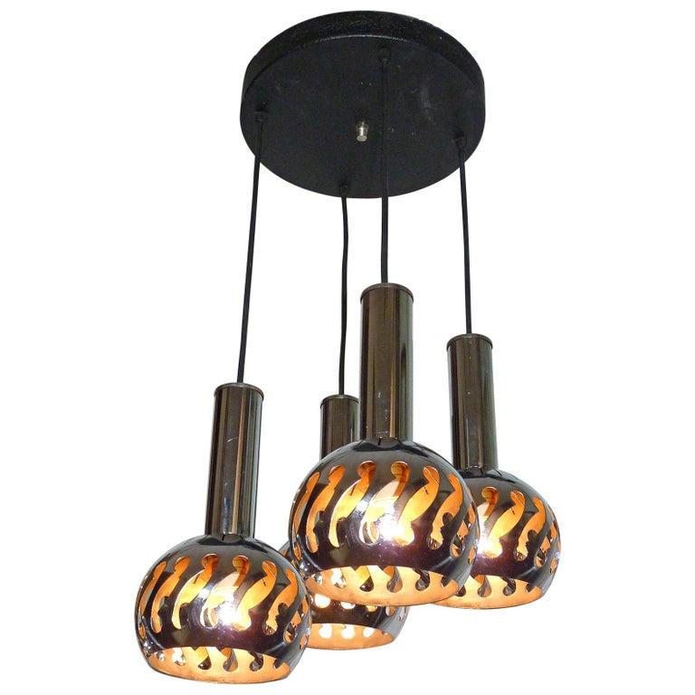 Vintage Space Age Sputnik Chrome Cascade Chandelier 4-Light Pendant Ceiling Lamp For Sale