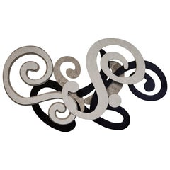 Black and White Swirl Tessellated Stone Wall Sculpture