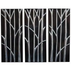 """Large """"Branches"""" Tessellated Stone Wall Sculpture with Stainless Inlay"""