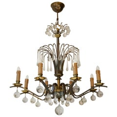 Chandelier in Glass and Brass