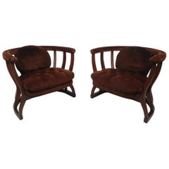 Pair of Mid-Century Modern Upholstered Barrel Back Chairs