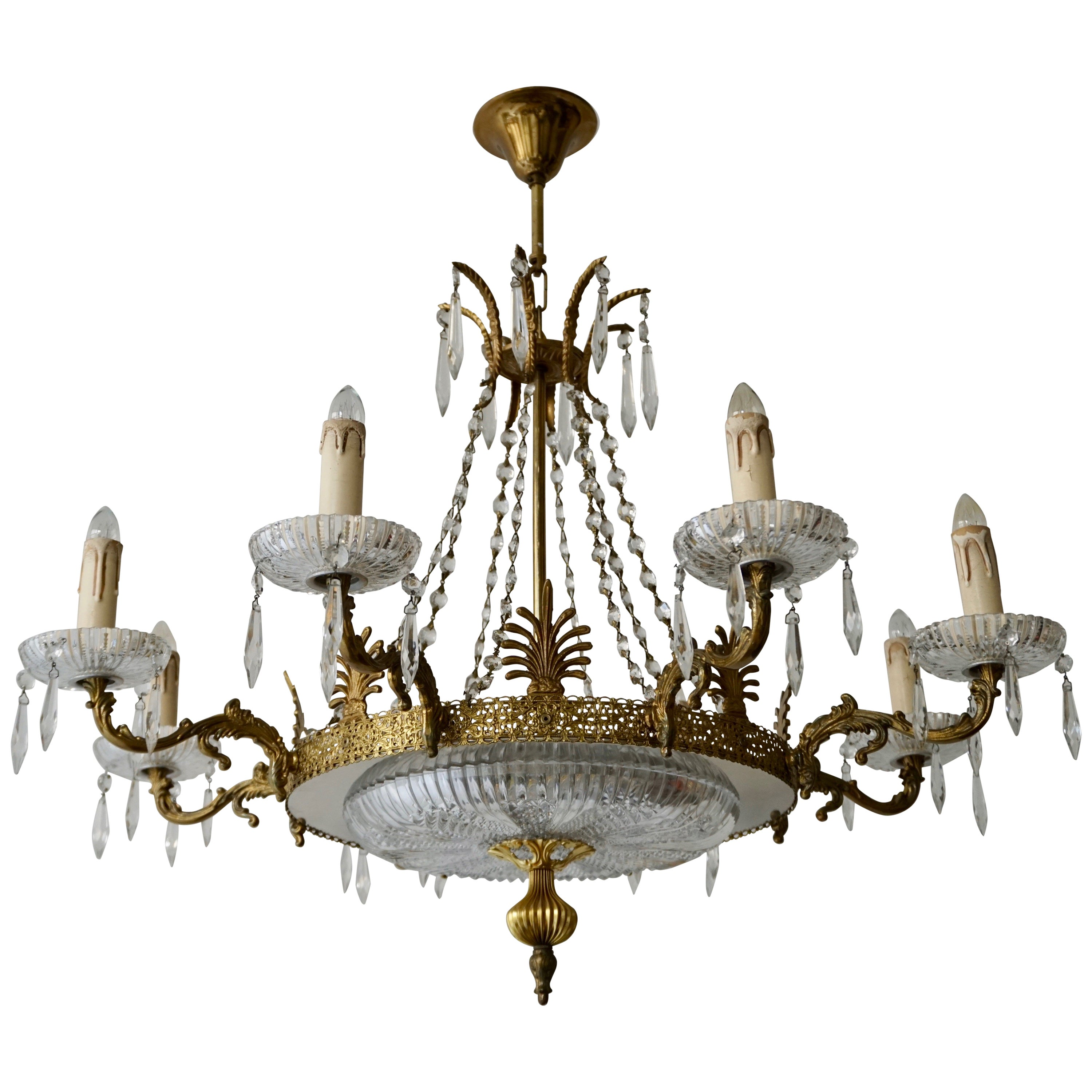 Midcentury Italian Murano Glass and Gilt Brass Chandelier, Pair