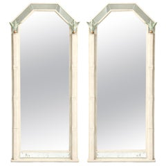 Pair of Bespoke Mirrors with Foliate Accents of Metal