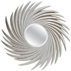 """Large """"Spin"""" Mirror Fully Inlaid with White Seashell"""