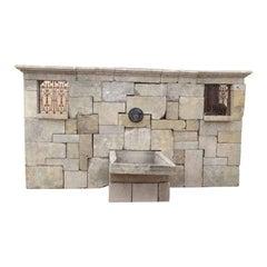 Antique Limestone Wall Fountain
