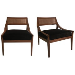 Pair of Walnut Armchairs by Kipp Stewart for Directional