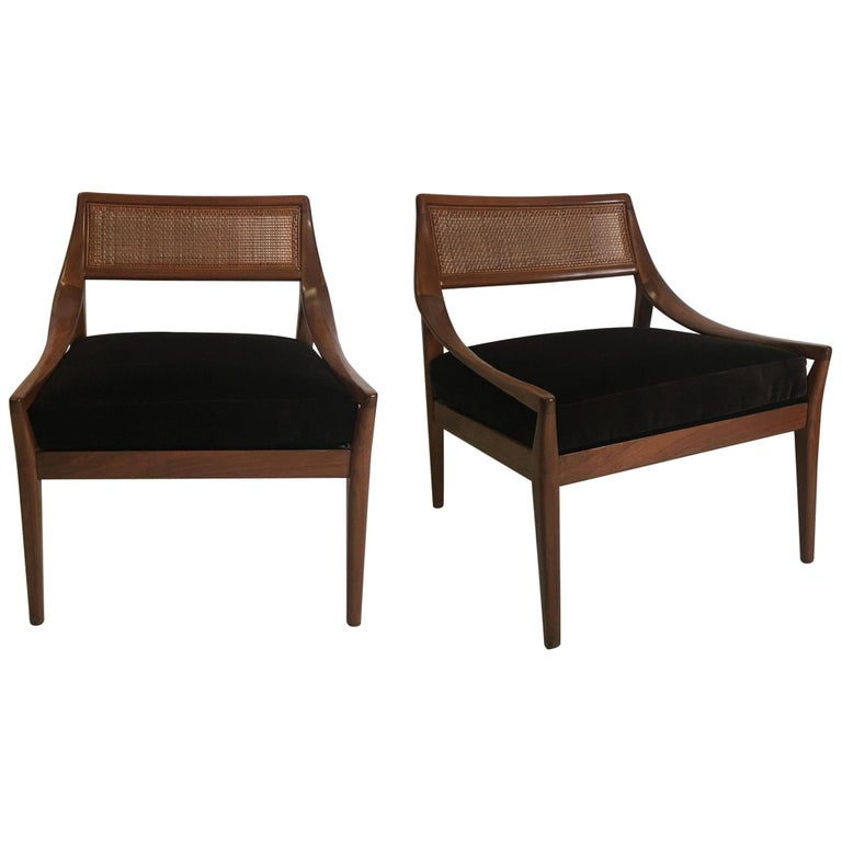 Pair of Walnut Armchairs by Kipp Stewart for Directional For Sale