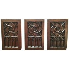 Set of Three Gothic Revival Panels