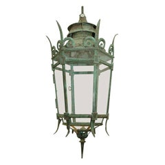 Mid-19th Century Bronze and Glass Hexagonal Hanging Lantern from England