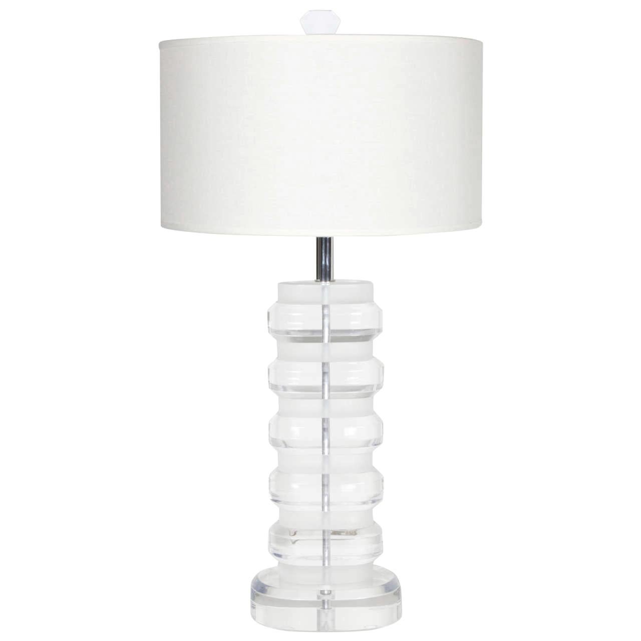 1970s Solid Lucite Table Lamp in the Style of Karl Springer