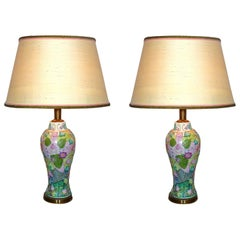 Pair of Polychrome Hand Painted Porcelain and Silk Hollywood Regency Table Lamps