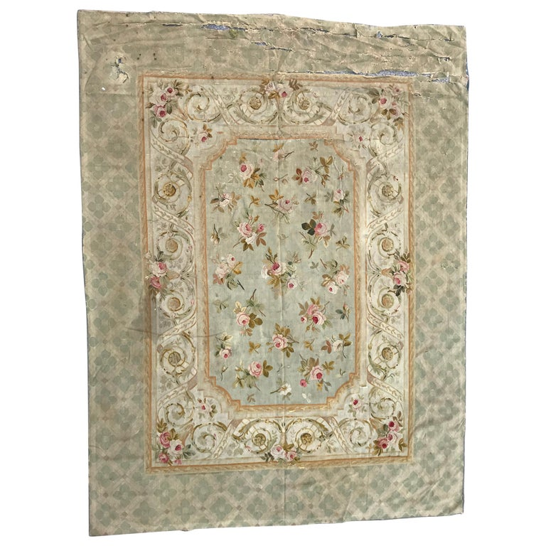 Damaged Furniture Sale: Beautiful Antique Damaged French Aubusson Rug For Sale At
