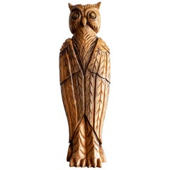 Wood Owl Sculpture