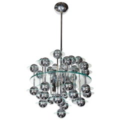Italian 1950s Spectacular Orbit Chandelier with Chrome Spheres