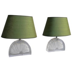 Pair of Fossil Shell Crystal Table Lamps with Green Silk Shades by Daum France