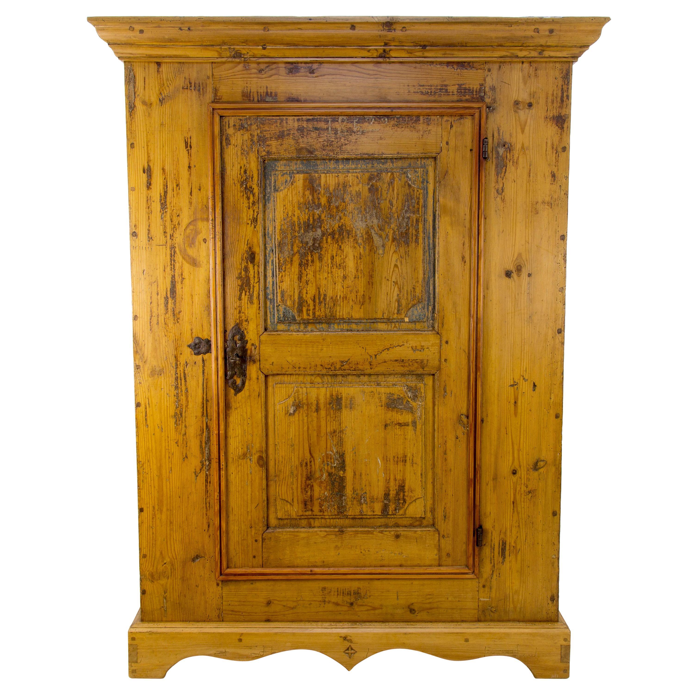 Antique One Door Baltic Pine Armoire, 1852
