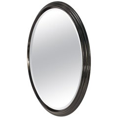Large Round Stepped Polished Wood Mirror, Italy, 1950s