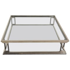 Square Stainless Steel Coffee Table with 2 Levels in Glass, Rega, Italy 1970s