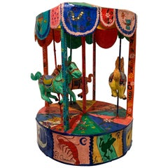 Monumental Vintage Mexican Folk Art Carousel Sculpture