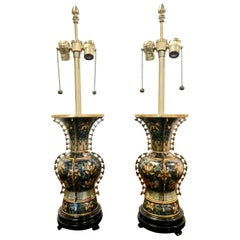 Marbro Chinese Deco Bronze Cloisonne Lamps