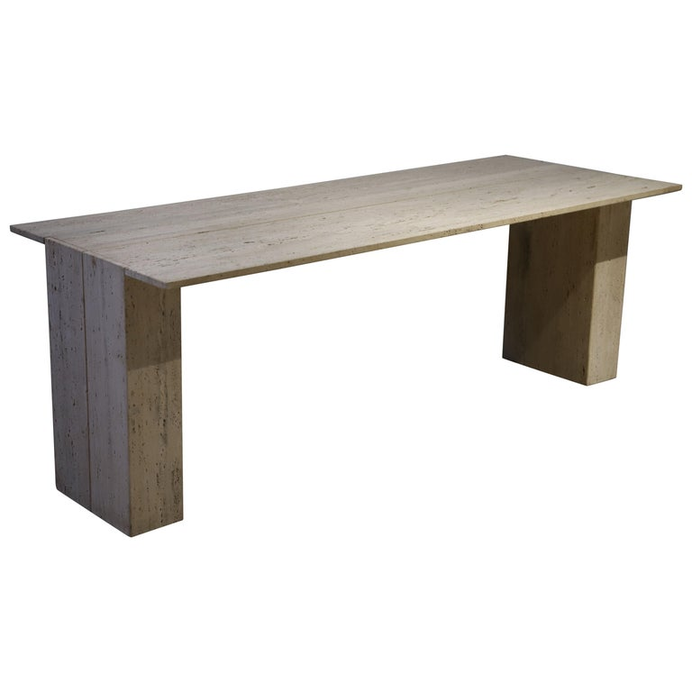 Travertine Desk or Dining Table For Sale