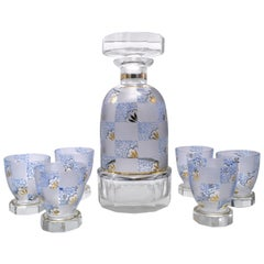 Art Deco Hand Decorated Czech Glass Decanter Set, circa 1930