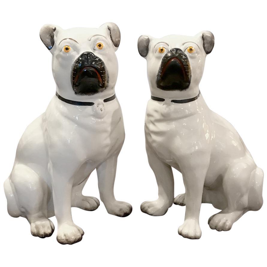 Pair of Staffordshire Pugs, Late 19th Century