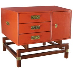 Vintage Red Campaign Style End Table Drawers and Door & Brass Detail by Hickory