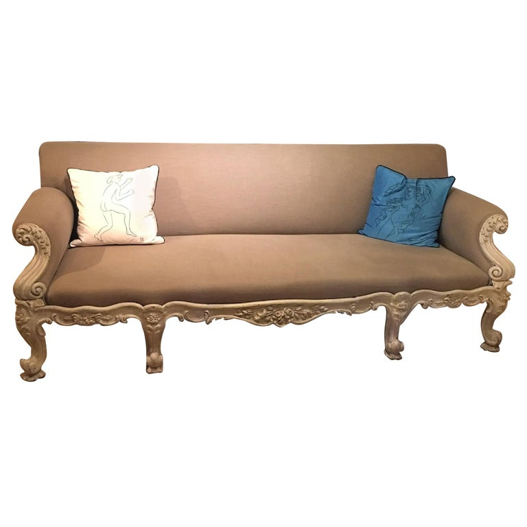 19th Century Gillows Carved Hardwood Sofa For Sale