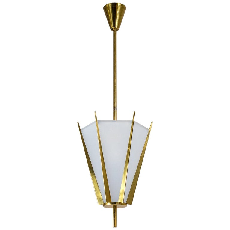 French Modernist Brass Pendant, circa 1960 For Sale