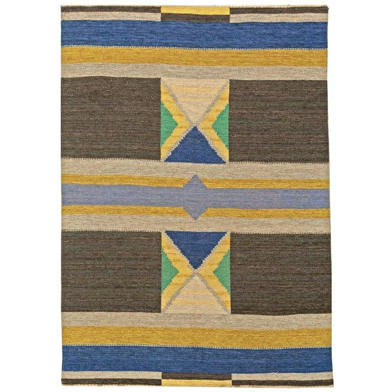 Vintage Swedish Flat-Weave Rug For Sale