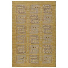 Yellow Vintage Swedish Flat-Weave Rug