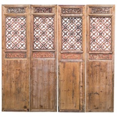 Late 19th Century Door Panels with Latticework and Carvings
