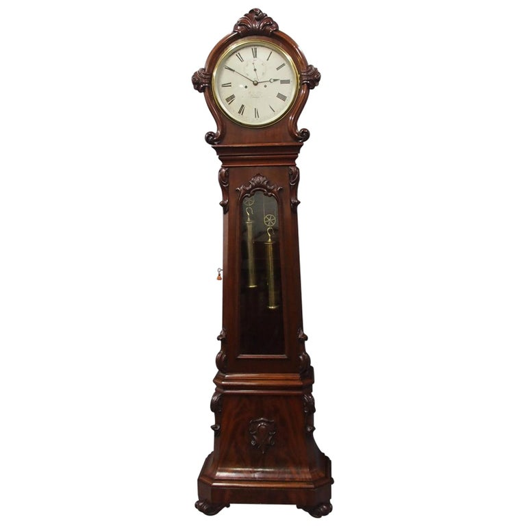 Victorian Mahogany Drum Head Longcase Clock by W. C. Shaw, Glasgow For Sale