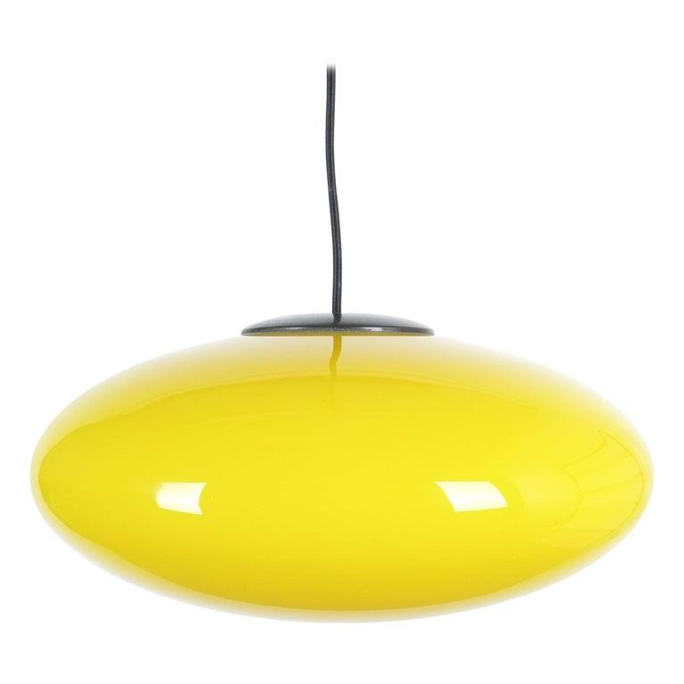 Yellow Stilnovo Glass Ball Pendant Lamp, Midcentury Italy For Sale