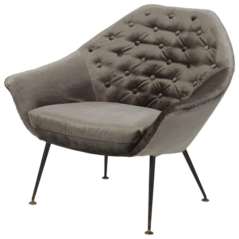 Gastone Rinaldi P43 Rima Velvet Chair, 1950s For Sale