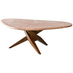 American Modernism, Freeform Coffee Table, Walnut, Pink Marble Top, 1960s