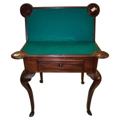 Late 19th Century Chippendale Style Mahogany Wood and Fabric English Table 1880s