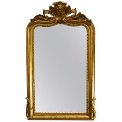 Antique French Gold Leaf Louis Philippe Mirror with Cartouche