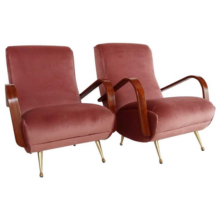 Italian Midcentury Armchairs in Mahogany, Brass and Coral Red Velvet, 1950s For Sale