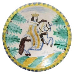 English Pottery Blue Dash Charger with King William on Horseback 17th Century