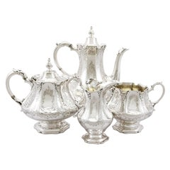Antique Victorian Sterling Silver Four-Piece Tea and Coffee Service 1848