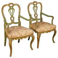 20th Century Lacquered, Gilt, Painted Wood Venetian Pair of Armchairs, 1960
