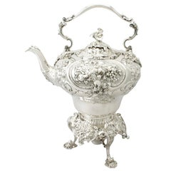 Antique Victorian English Sterling Silver Spirit Kettle