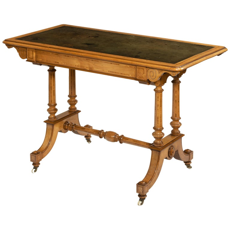 Victorian Birch or Satinwood Writing Table, Attributed to Holland and Sons For Sale