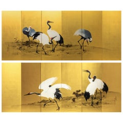 Meiji Period Painted Golden Screen with Cranes by Mochizuki Gyokkei from 1906