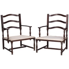 1930s Pair of French Rustic Vintage Wooden Armchairs