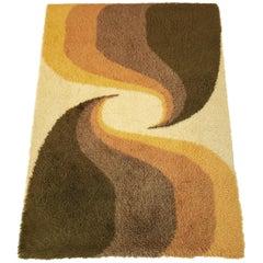 Danish Green and Yellow Geometric Ege Rya Wool Shag Rug, 1960s