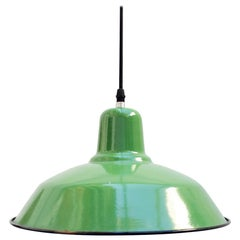 1960s Green Industrial Pendant Ceiling Lamp