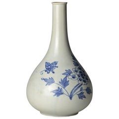 19th Century Joseon Korean Wine Bottle Blue White Vase with Peony and Butterfly